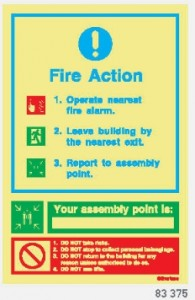 83-375 Fire Action Sign 200 X 300