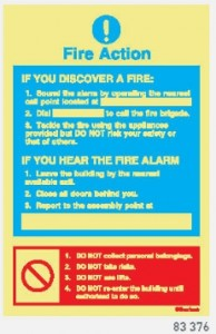 83-376 Fire Action Sign 200 X 300